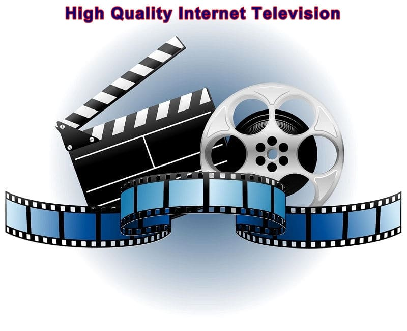 High Quality Internet Television - film reels and clapperboard